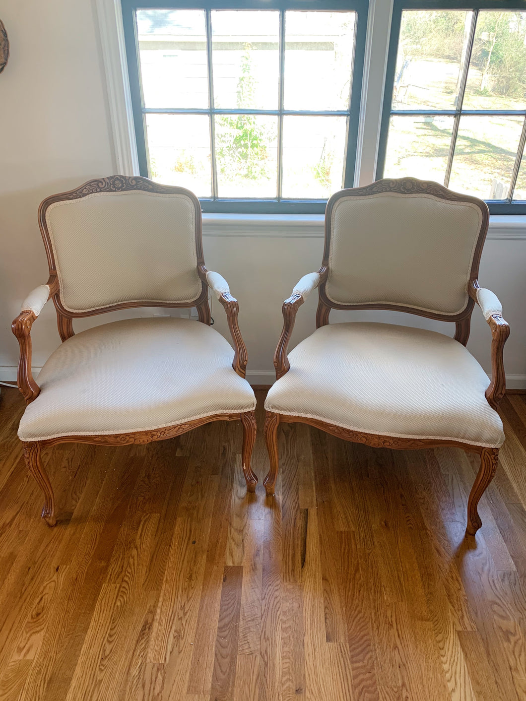 Pair of French Hand Carved Chairs
