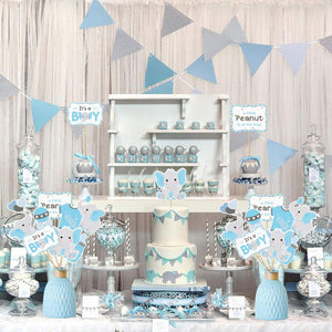 Elephant Baby Shower Centerpieces in Blue and Gray (24 pieces) - Elephant Party Decorations DIY