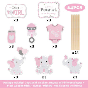 Elephant Baby Shower Centerpieces in Pink and Gray (24 pieces) - Elephant Decorations DIY