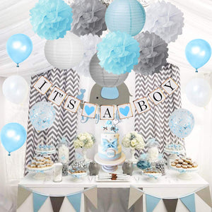 Elephant Baby Shower Party Package in Blue and Gray, Elephant Baby Shower Decorations-Little Peanut-Virtual Baby Shower