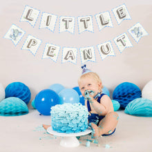 Load image into Gallery viewer, Little Peanut Elephant Banner in Blue and Gray, Elephant Baby Shower Decoration-Virtual Baby Shower