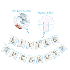 Little Peanut Elephant Banner in Blue and Gray, Elephant Baby Shower Decoration-Virtual Baby Shower