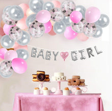 Load image into Gallery viewer, Baby Girl Balloon Garland Kit Pink and Gray with Balloon Banner (8 feet) Complete Set