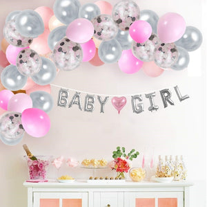 Baby Girl Balloon Garland Kit Pink and Gray with Balloon Banner (8 feet) Complete Set