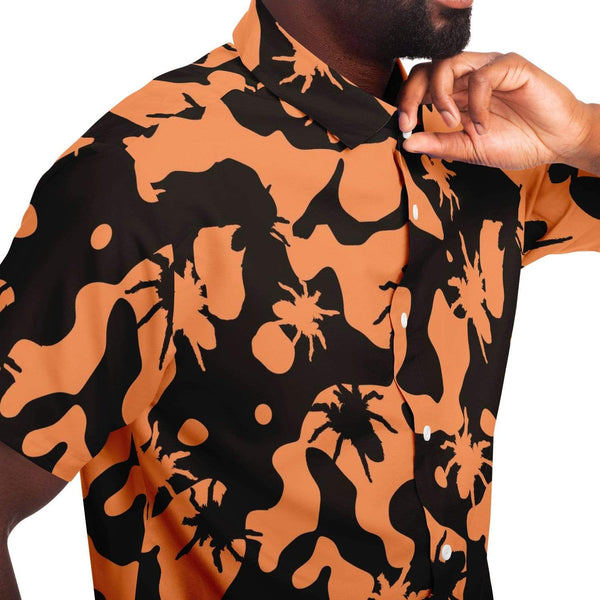 Subliminator Short Sleeve Button Down Shirt - AOP XS / Orange Camo Tarantula Button Down