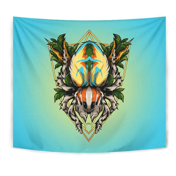 Maratus volans - Peacock spider tapestry - Everything Exotic