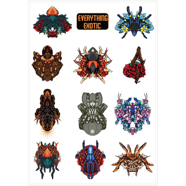Tarantula Sticker Sheet - 11 Stickers - Everything Exotic