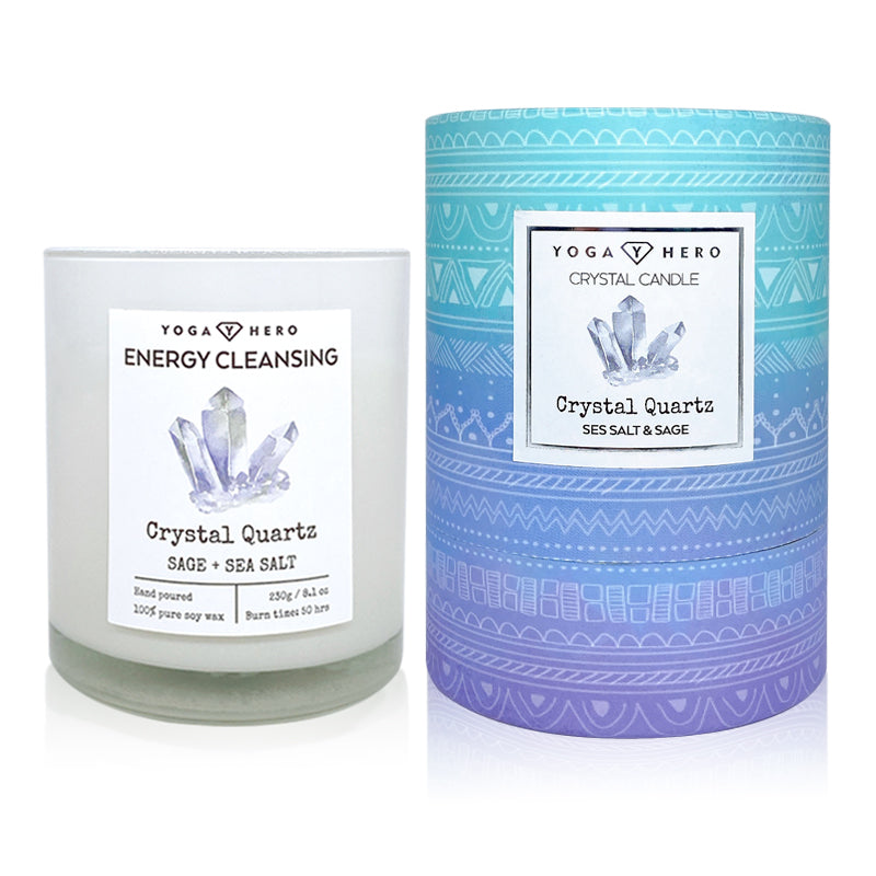 Crystal Candle with Clear Quartz and Sage (Energy Cleansing)