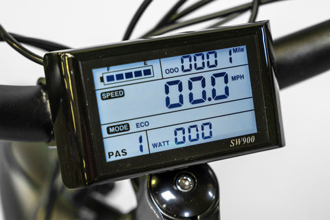 Image of LCD display of EWheels BAM-SUPREME Fat Tire Electric Mountain Bike