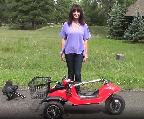 Folded EWheels EW-19 electric 3-scooter with seat removed