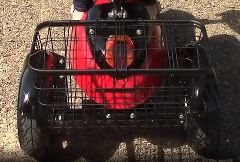 Extra large rear basket with lid on EWheels EW-19 electric 3-wheel scooter