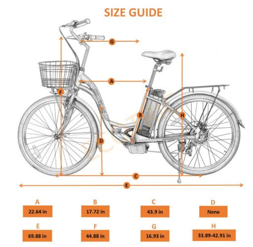 Ecotric Peacedove Step-Through Electric City Bike size guide