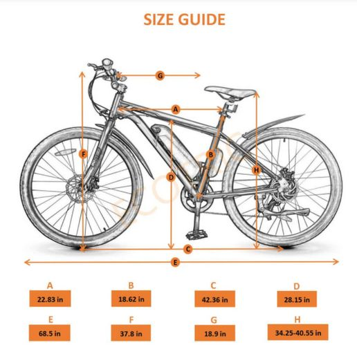 Ecotric Vortex Electric City Bike size guide