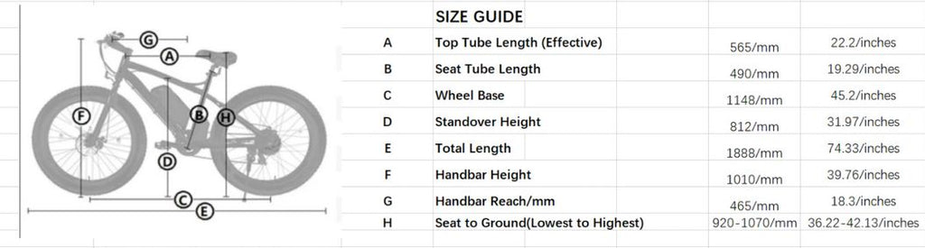 Ecotric Beach Snow Fat Tire Electric Bike size guide