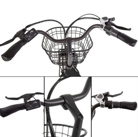Ecotric Peacedove handlebar, throttle, shifter and front basket