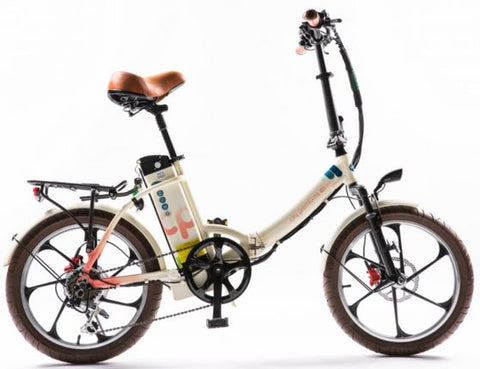 2021 City Premium Folding Electric Bike (cream/pink)