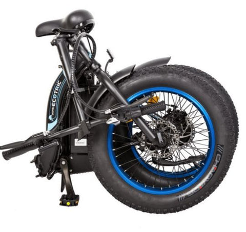 folded Ecotric Dolphin 500W Fat Tire Folding Step-Through Electric Bike