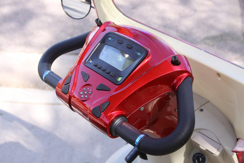 Image of digital dash of E-Wheels EW-54 Four Wheel Full Front Windshield Electric Scooter