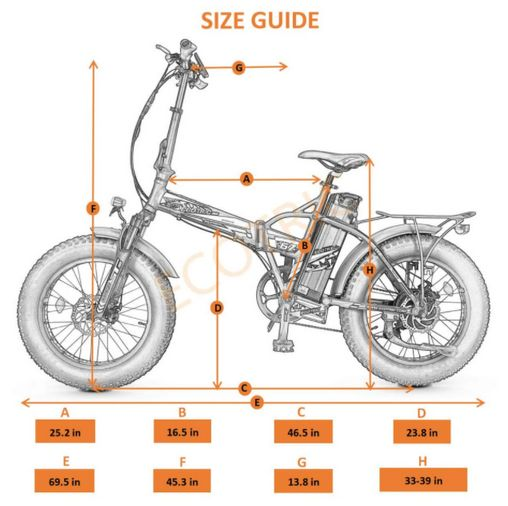 New Ecotric 48V 500W Fat Tire Folding Electric Bike size guide