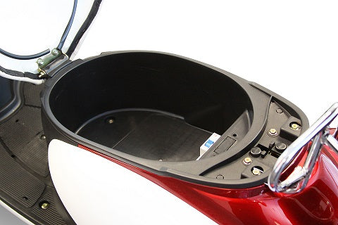 Under seat storage in EWheels Euro Style retro 3 wheel moped electric scooter