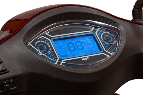 Image of LED dashboard of EW-46 bariatric electric 4 wheel all-terrain mobility scooter