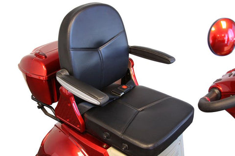 Image of adjustable executive seat of E-Wheels EW-54 Four Wheel Full Front Windshield Electric Scooter