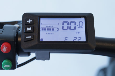Image of LCD display of EWheels Rugged Electric Mountain Bike