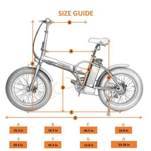 Ecotric Fat Tire Folding Electric Bike size guide