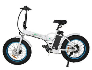 Ecotric 36V 500W Fat Tire Folding Electric Bike (white and blue)
