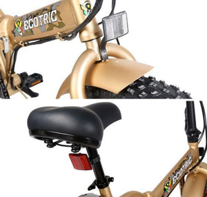 Ecotric Fat Tire Folding Electric Bike saddle and headlight