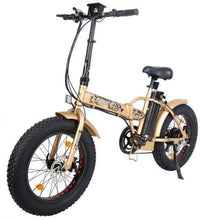 Load image into Gallery viewer, Ecotric 48V 500W Fat Tire Folding Electric Bike (gold)