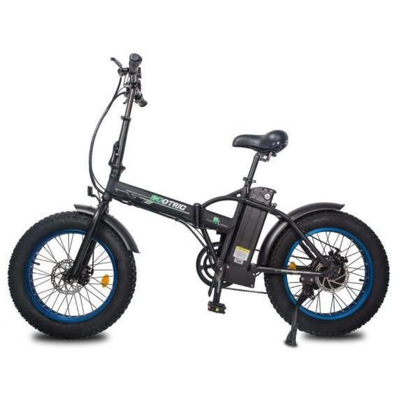 Ecotric 48V 500W Fat Tire Folding Electric Bike (blue)