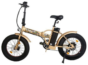 Ecotric 48V 500W Fat Tire Folding Electric Bike (gold)