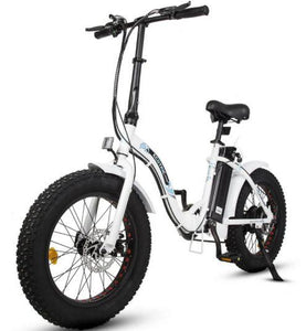 Ecotric Dolphin Fat Tire Folding Step-Through Electric Bike (white)