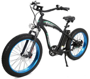 Ecotric Hammer Electric Fat Tire Cruiser Bike (blue)