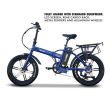 Load image into Gallery viewer, EMOJO 48V 750W LYNX PRO Electric Folding Fat Tire Bike (blue)