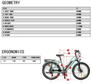 Eunorau E-Torque Step-Thru Electric Bike geometry