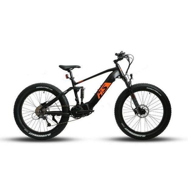 Eunorau Fat-HS Tire Electric Bike (black frame with orange graphics)