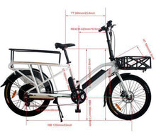 Load image into Gallery viewer, Eunorau Max-Cargo 48v 750W Electric Cargo Bike dimensions