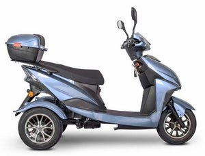 side view of EWheels EW-10 Sport 3-Wheel Scooter (blue)