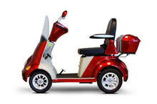 Load image into Gallery viewer, side view of EWheels EW-52 Four Wheel Designer Electric Mobility Scooter (red)
