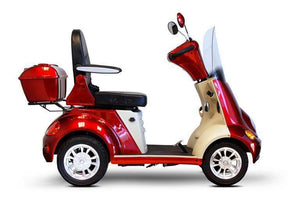 side view of EWheels EW-52 Four Wheel Designer Electric Mobility Scooter (red)