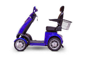 side view of EWheels EW-72 4 Wheel Electric Mobility Scooter (blue)