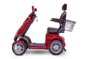 side view of EWheels EW-72 4 Wheel Electric Mobility Scooter (red)
