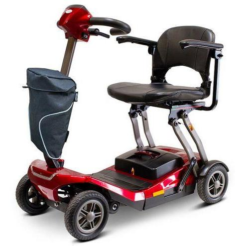 E-Wheels EW-REMO Auto-Flex Folding Travel Four Wheel Electric Scooter-Red-EW-REMO R-Ride and Go Electrics