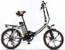 Load image into Gallery viewer, GreenBike Electric Motion 2021 City Premium Folding Electric Bike (white/blue)