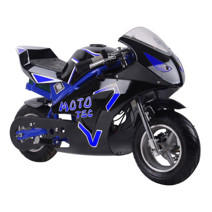 MotoTec Electric Pocket Bike GT 36v 500w-Blue-Ride and Go Electrics