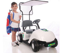 Load image into Gallery viewer, little girl beside Junior Golf Cart 6v ride-on toy white