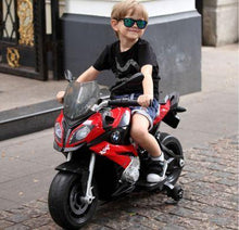 Load image into Gallery viewer, kid riding on Rastar BMW S1000XR Kids Electric Motorcycle