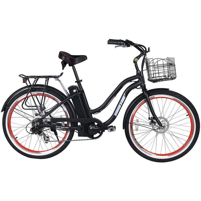 X-Treme Malibu Elite 24V Electric Step Through Beach Cruiser Bike (black)